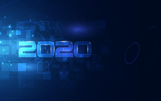 Célébration De 2020 Avec Fond De Technologie Cyber Futuriste Vecteur Premium