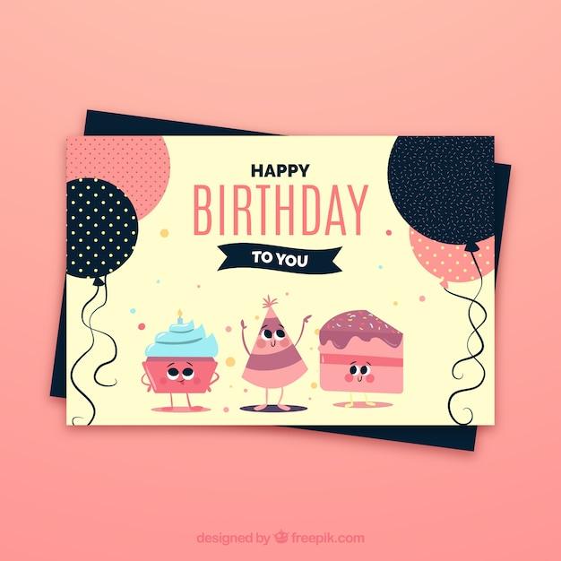 Célébration de l'anniversaire carte Vecteur gratuit