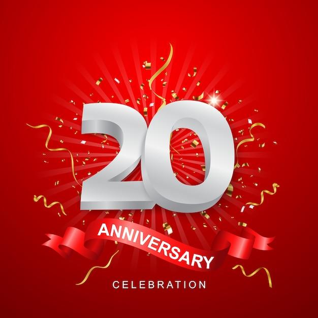 Célébration D'anniversaire Avec Des Confettis D'or Sur Fond Rouge Vecteur Premium