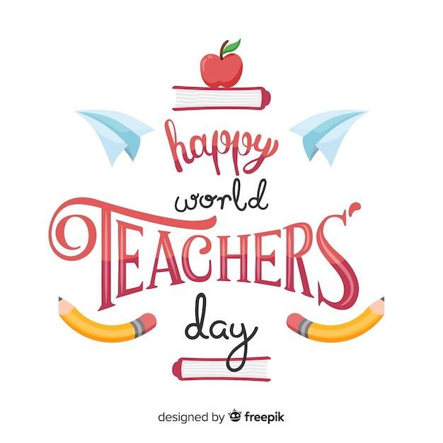 Célébration du dessin animé de la journée mondiale des enseignants Vecteur gratuit