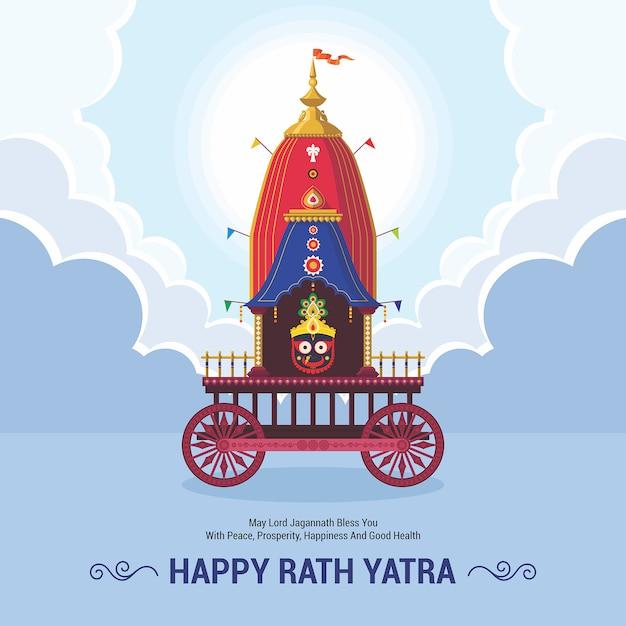 Célébration Du Festival Ratha Yatra Pour Lord Jagannath, Balabhadra Et Subhadra. Lord Jagannath Puri Odisha God Rathyatra Festival. Vecteur Premium