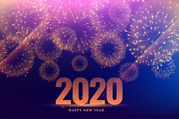 Célébration Du Feu D'artifice De Bonne Année 2020 Vecteur gratuit