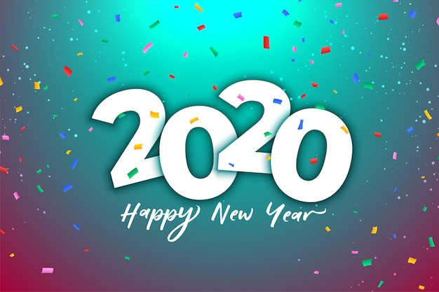 Célébration du nouvel an 2020 avec des confettis colorés Vecteur gratuit