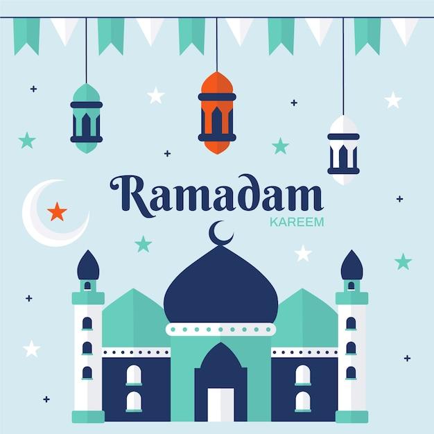 Célébration Du Ramadan Design Plat Vecteur gratuit
