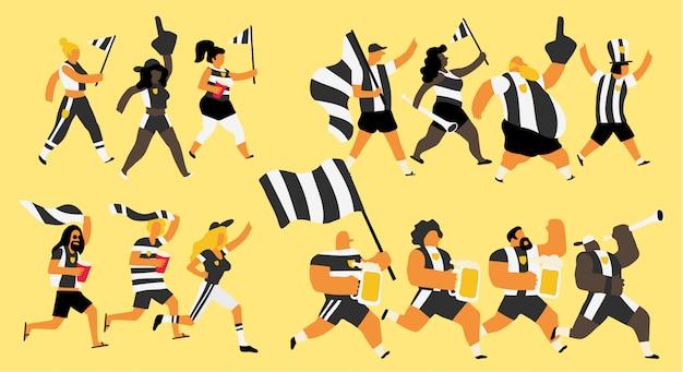 Célébration des fans de l'équipe noir et blanc Vecteur Premium