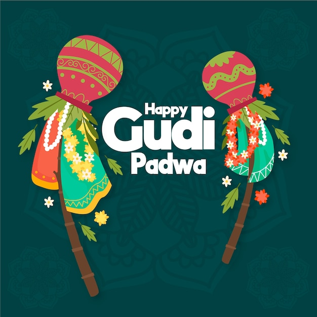 Célébration De Gudi Padwa Dessinés à La Main Vecteur gratuit