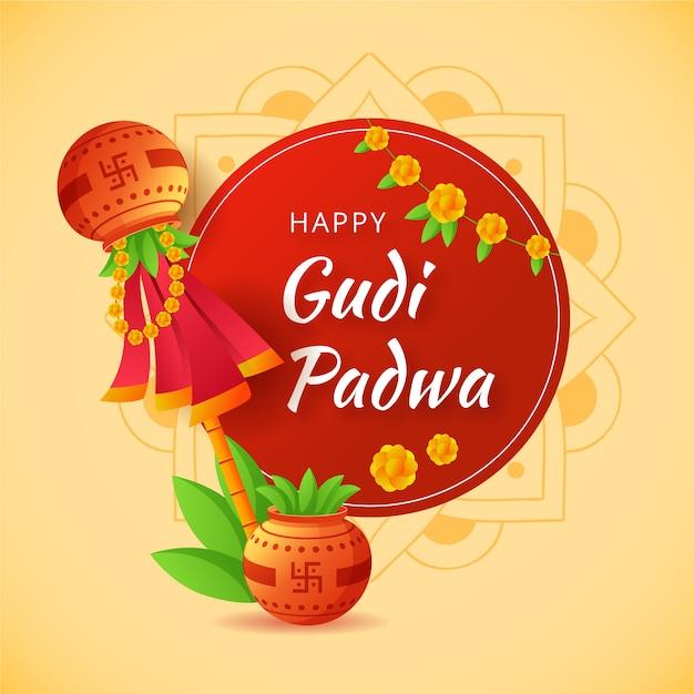 Célébration De Gudi Padwa Vecteur gratuit