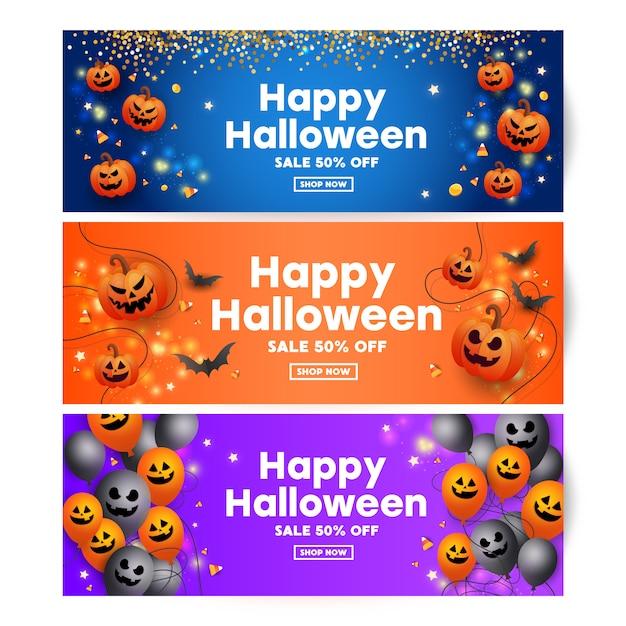 Célébration d'halloween avec effrayant visage de citrouilles, chauves-souris, bonbons, ballons noirs de décoration de confettis d'or Vecteur Premium