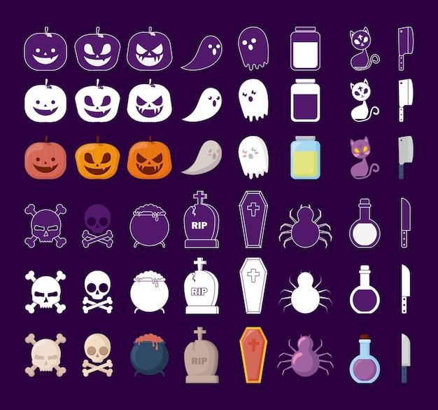 Célébration d'halloween icônes définies Vecteur gratuit