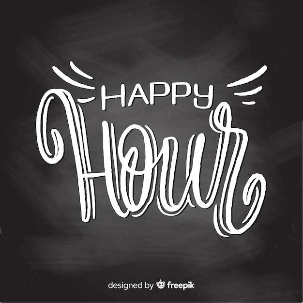 Célébration de l'happy hour avec lettrage Vecteur gratuit