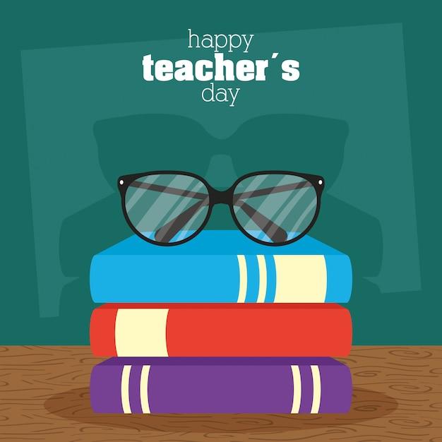 Célébration De La Journée Des Enseignants Heureux Avec Tableau Noir Et Livres Vecteur Premium