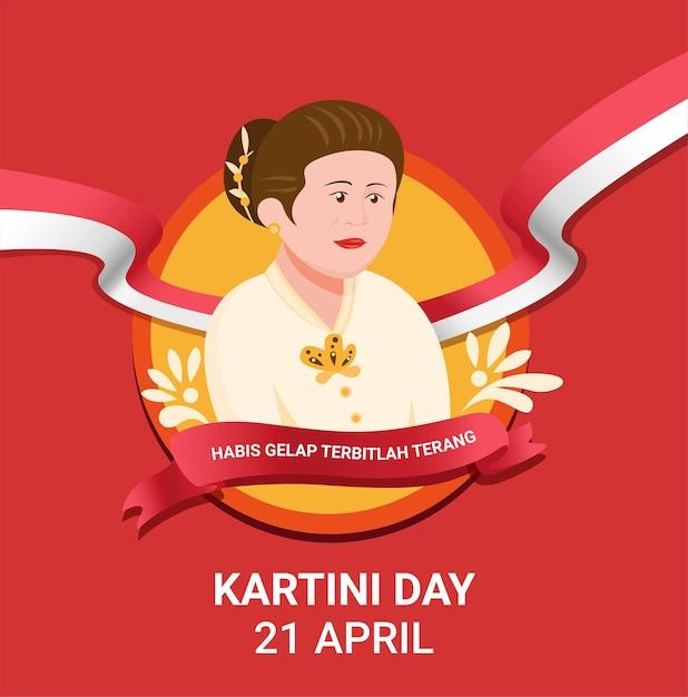 Célébration De La Journée Kartini Pour Ra Kartini, Un Héros Des Femmes Et Des Droits Humains En Indonésie. En Illustration Vectorielle Plate De Dessin Animé Vecteur Premium