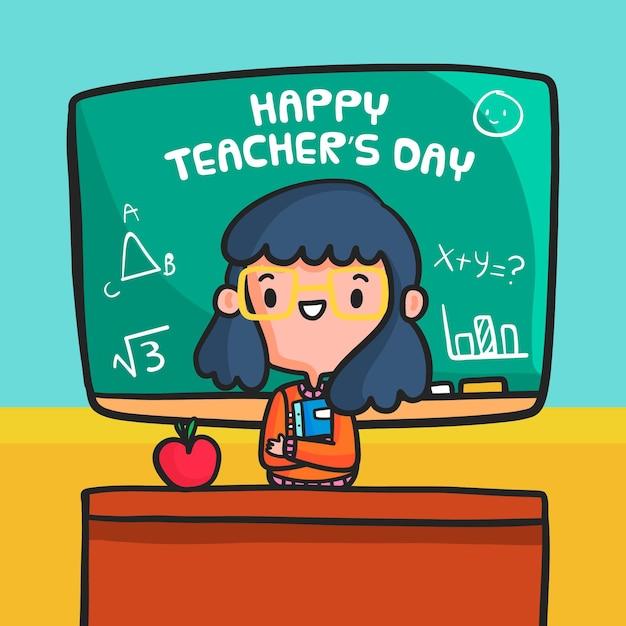 Célébration De La Journée Des Professeurs De Design Plat Vecteur Premium