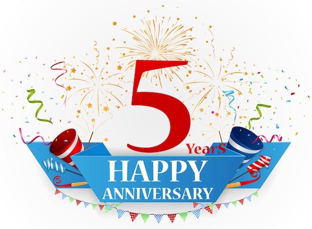 Célébration De Joyeux Anniversaire Avec Des Feux D'artifice Et Des Confettis Vecteur Premium
