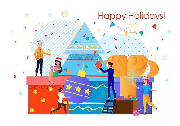 Célébration De Noël De L'équipe Commerciale Vecteur Premium