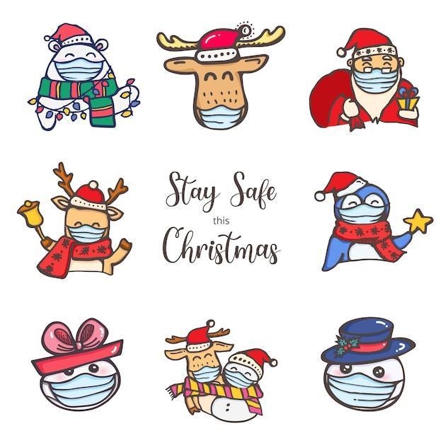 Célébration De Noël Pendant La Collection De Personnages Covid Wear Mask Stay Safe Vecteur Premium