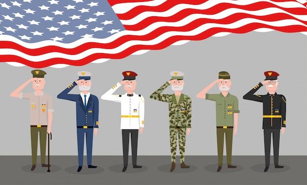 Célébration patriotique nationale de la fête des anciens combattants Vecteur Premium