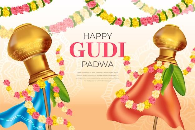 Célébration Réaliste De La Journée Gudi Padwa Vecteur Premium