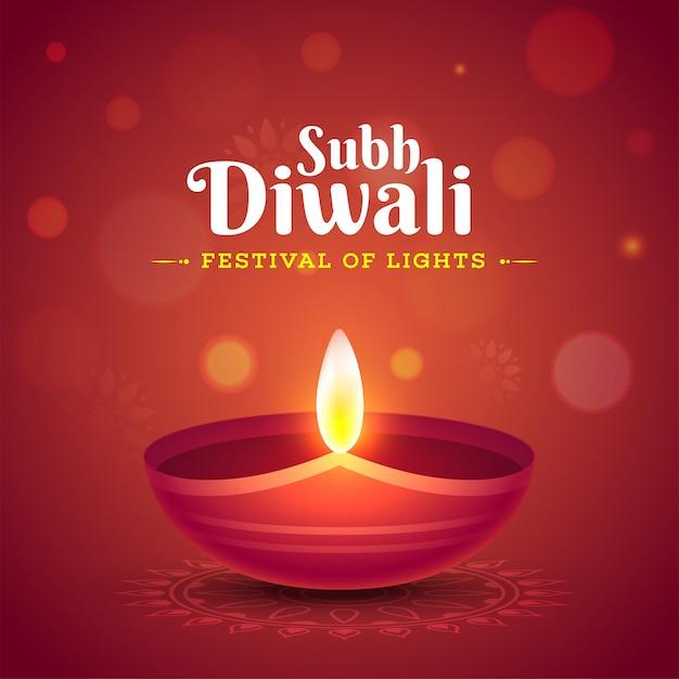 Célébration de subh diwali avec une lampe à huile illuminée (diya) Vecteur Premium