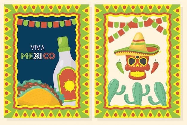 Célébration Viva Mexico Avec Masque Alimentaire Et Mort Vecteur Premium