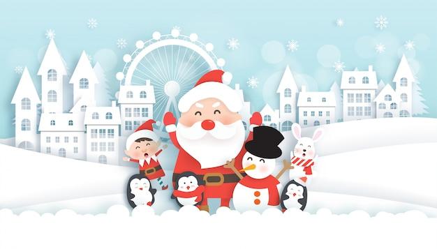 Célébrations de noël avec père noël et animaux mignons dans le village de neige pour carte de noël Vecteur Premium