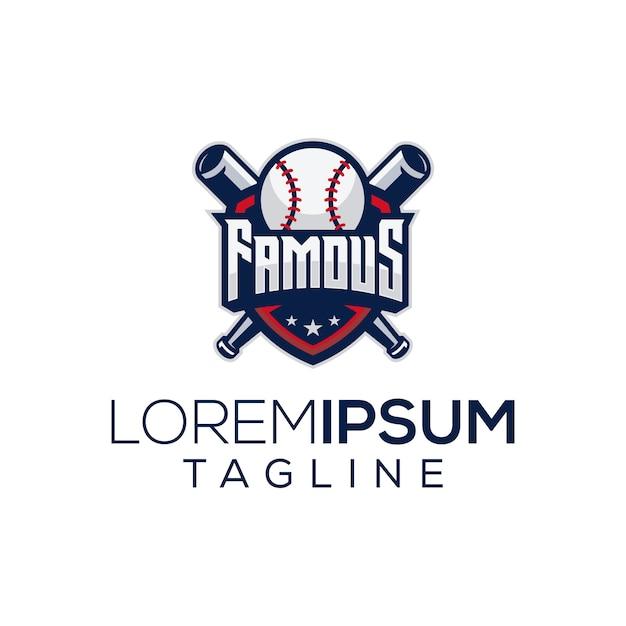 Célèbre logo de baseball Vecteur Premium
