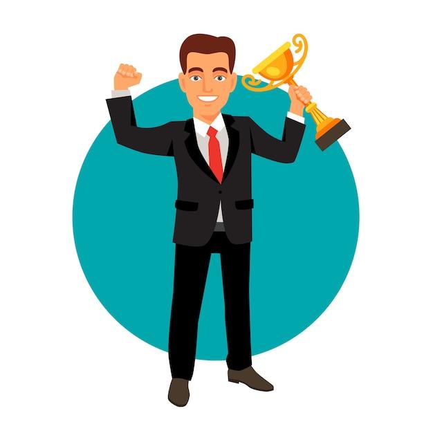 Célébrer L'homme D'affaires Tenant Le Trophée De La Coupe Gagnante Vecteur gratuit