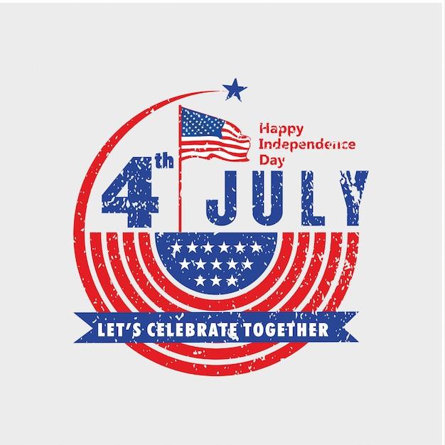 Célébrez la fête de l'indépendance des états-unis le 4 juillet avec un look vintage Vecteur Premium
