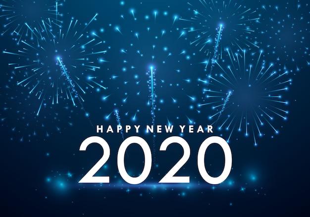 Célébrez le nouvel an après une belle fête de feu d'artifice. Vecteur Premium