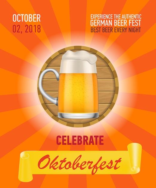 Célébrez octoberfest, conception d'affiche pour la bière allemande Vecteur gratuit