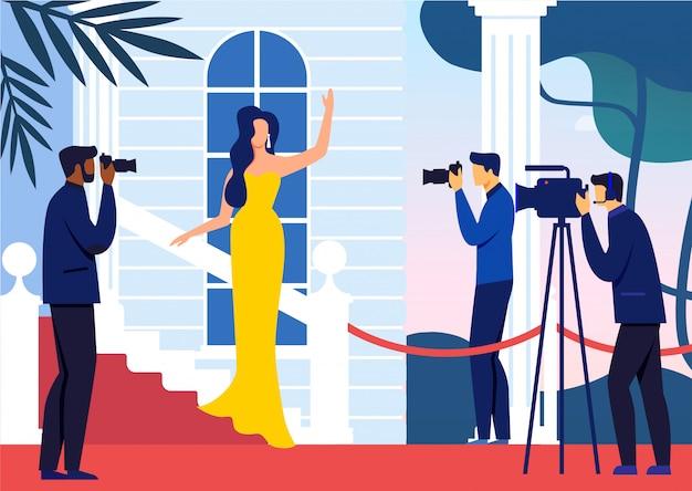 Célébrité sur l'illustration vectorielle plat tapis rouge Vecteur Premium