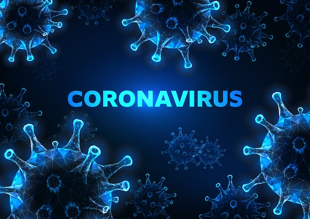 Cellules De Coronavirus Futuristes à Faible Polygonalité Rougeoyante Vecteur Premium