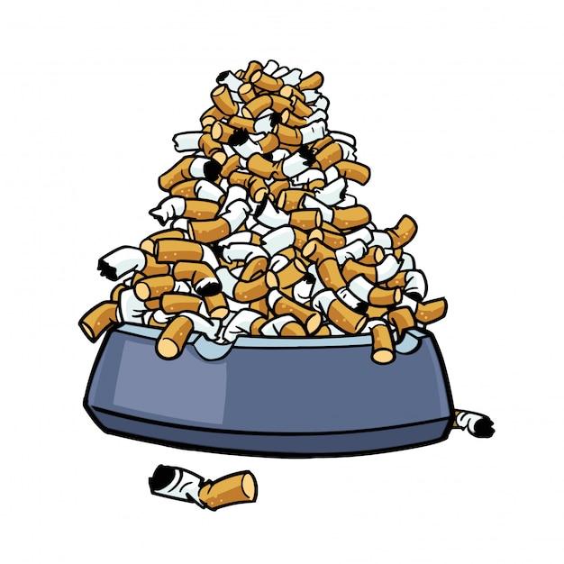 Cendrier avec beaucoup de mégots de tabac Vecteur Premium