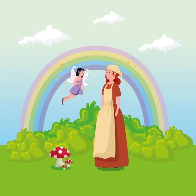 Cendrillon avec fée volant dans la scène de conte de fées Vecteur gratuit