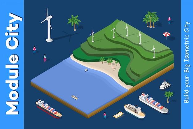 Centrale éolienne écologique Vecteur Premium