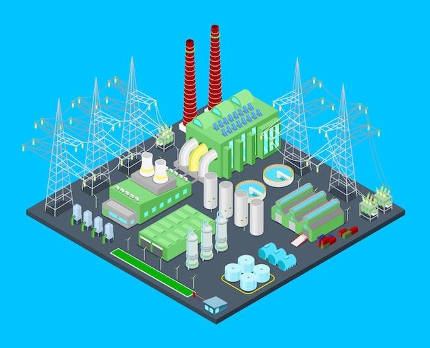Centrale Nucléaire Isométrique Avec Tuyaux. Illustration Vecteur Premium