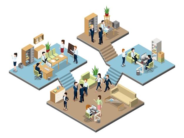 Centre d'affaires avec des personnes travaillant dans des bureaux. Vecteur Premium