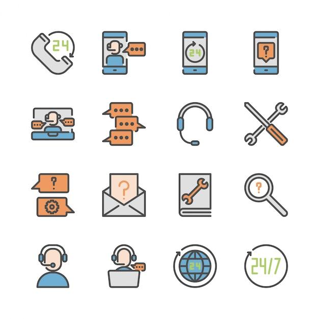 Centre d'appels et assistance dans le jeu d'icônes colorline Vecteur Premium