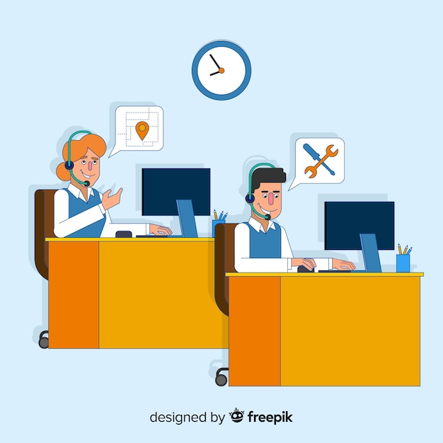 Centre d'appels design en style plat Vecteur gratuit