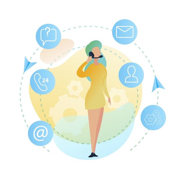 Centre d'appels d'illustration femme debout Vecteur Premium