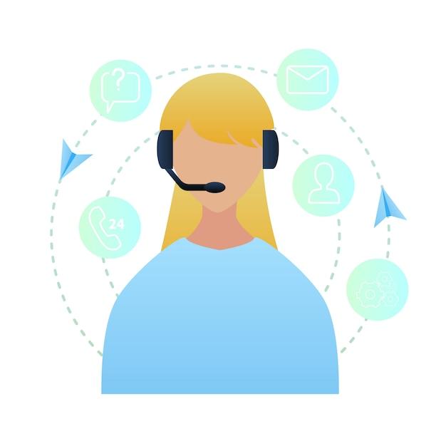 Centre d'appels d'illustration portrait woman worker Vecteur Premium