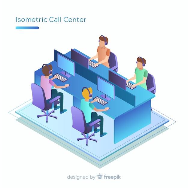 Centre d'appels moderne au design isométrique Vecteur gratuit