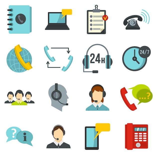 Centre d'appels symboles définis icônes plats Vecteur Premium