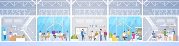 Centre De Co-working Creative Office En Style Loft, Vecteur Premium