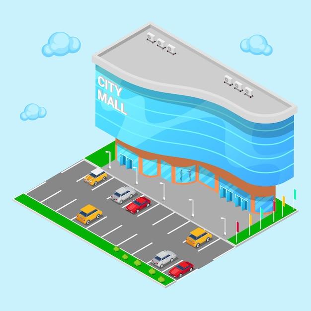 Centre commercial isométrique. bâtiment moderne de centre commercial avec zone de stationnement. illustration vectorielle Vecteur Premium