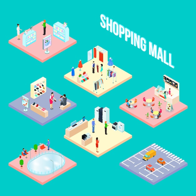Centre commercial isométrique définir objet avec quelques échantillons de boutique éléments intérieurs vector illustration Vecteur gratuit