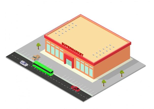 Centre Commercial Isométrique Ou Icône De Bâtiment De Supermarché Vecteur Premium