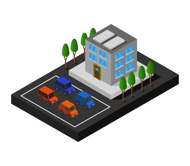 Centre Commercial Isométrique Vecteur Premium