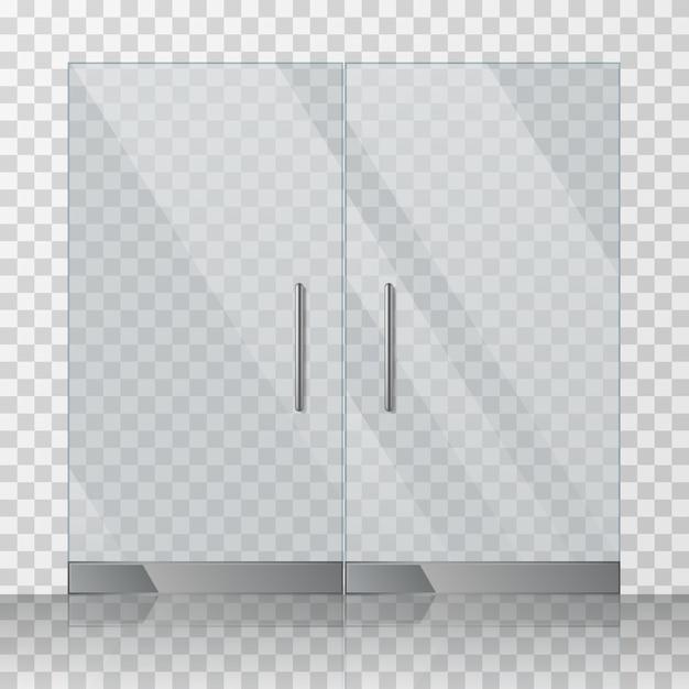 Centre commercial, magasin de portes en verre vector illustration Vecteur Premium