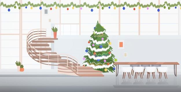 Centre De Coworking Décoré Pour Les Fêtes De Noël Vecteur Premium